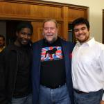 "Actors Joshua McCaulley (left) and O'Ryan White (right) with ""Under the Overpass"" playwright Steven Young (center)"