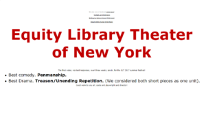 Equity Library Theatre's win announcement