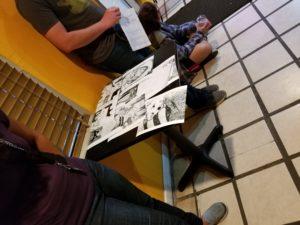 The art table for Mary Maliha.